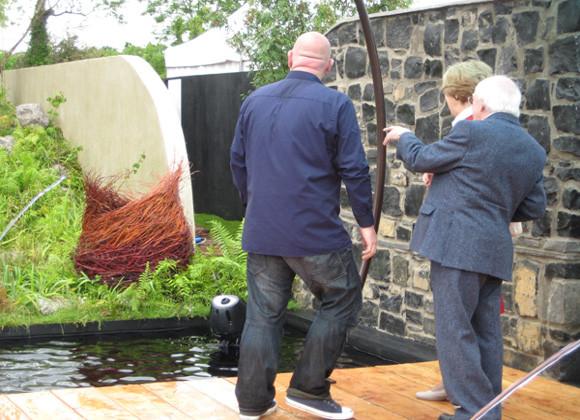 President Michael D. Higgins admiring the willow sculpture at Bloom Show Garden, Phoenix Park, Dublin