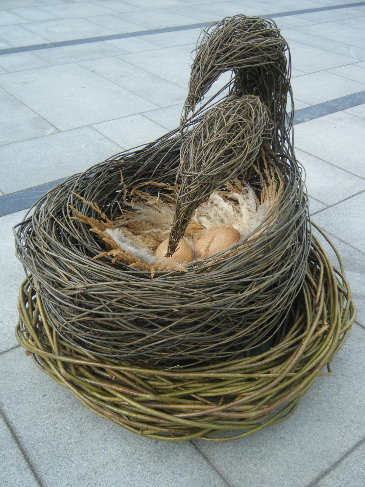 Tender, Love and Care, willow, wood carved eggs and natural materials